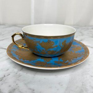 T2 Blue Gold Moroccan Tea Cup Saucer Set Floral Decor Homewares